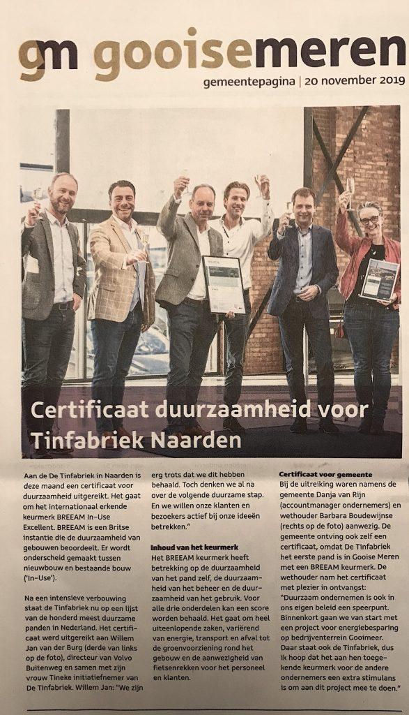 Breeam-in-use Excellent certificaat voor Volvo Buitenweg
